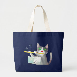 Benny the flute player cat large tote bag