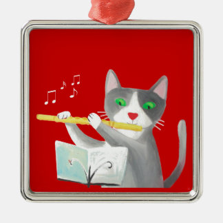 Benny the flute player cat Silver-Colored square decoration