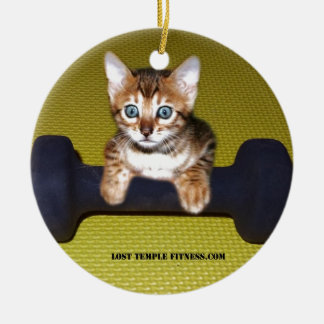Bental Kitten with Dumbbell Yellow Ornament