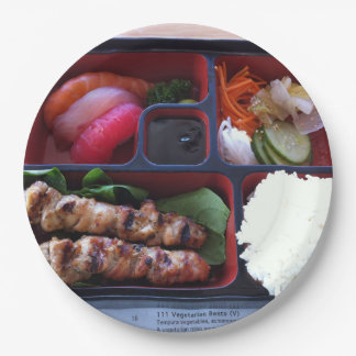 Bento Box Sushi Japanese Rice Food 9 Inch Paper Plate