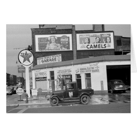 Benton Harbour Filling Station, 1940s Card