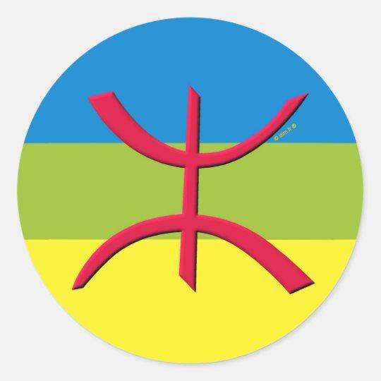 Berber flag amazigh classic round sticker