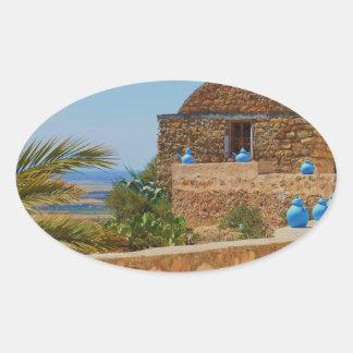Berber village in Tunisia. Oval Sticker