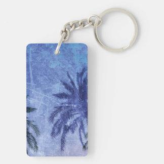 Bercelona Blue Palm tree Grunge Digital Art Design Double-Sided Rectangular Acrylic Key Ring