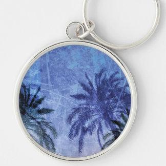 Bercelona Blue Palm tree Grunge Digital Art Design Silver-Colored Round Key Ring