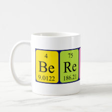 Mug featuring the name Berengere spelled out in symbols of the chemical elements
