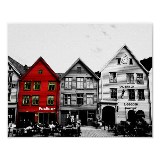 Bergen Norway Black and White photo with red