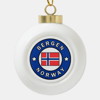 Bergen Norway Ceramic Ball Christmas Ornament