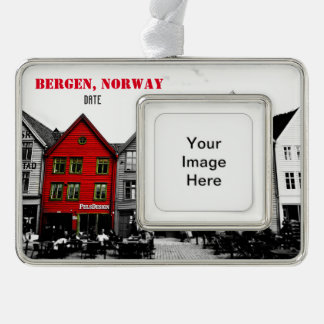 Bergen Norway Travel Christmas Ornament Customized Silver Plated Framed Ornament