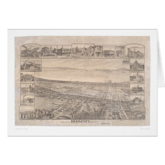 Berkeley, CA. Panoramic Map 1891 (0099A) -Restored Card