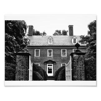 Berkeley Plantation - Carriage Entrance (B&W) Photographic Print