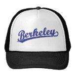 Berkeley script logo in blue mesh hat