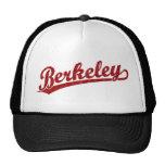 Berkeley script logo in red hats