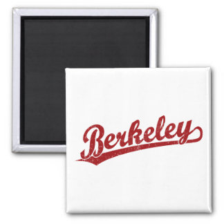 Berkeley script logo in red square magnet