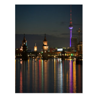 Berlin Alexanderplatz Oberbaum Bridge night Postcard
