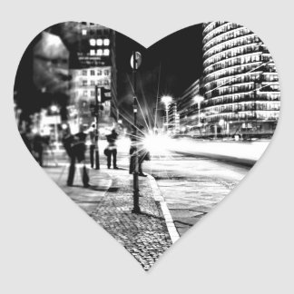 Berlin at Night Heart Sticker