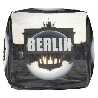 BERLIN Brandenburg Gate sunset, Germany Cube Pouf