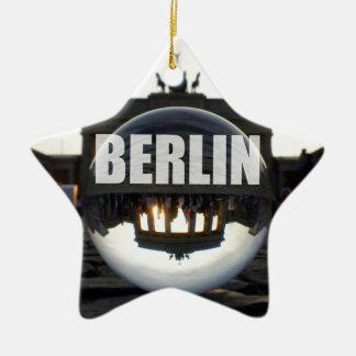 BERLIN Brandenburger Tor, Brandenburg Gate sunset Double-Sided Star Ceramic Christmas Ornament