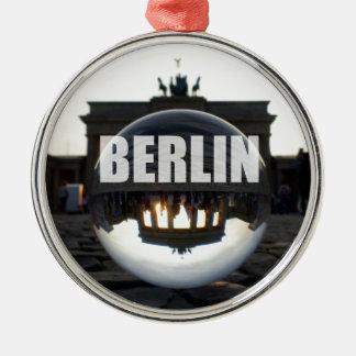 BERLIN Brandenburger Tor, Brandenburg Gate sunset Silver-Colored Round Decoration