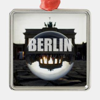 BERLIN Brandenburger Tor, Brandenburg Gate sunset Silver-Colored Square Decoration