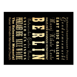 Berlin City of Germany Typography Art Postcard
