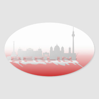 Berlin Cityscape_3 Oval Sticker