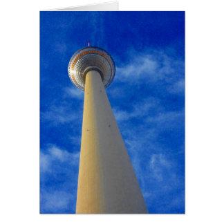 berlin fernsehturm blue greeting card