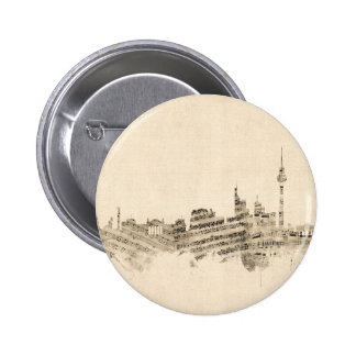 Berlin Germany Skyline Sheet Music Cityscape 6 Cm Round Badge