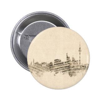 Berlin Germany Skyline Sheet Music Cityscape 6 Cm Round Badge