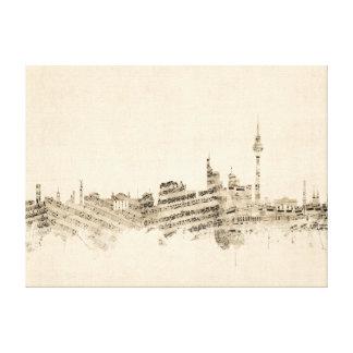 Berlin Germany Skyline Sheet Music Cityscape Canvas Print