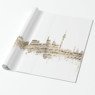Berlin Germany Skyline Sheet Music Cityscape Wrapping Paper
