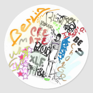 Berlin Graffiti Girl Classic Round Sticker