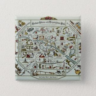 Berlin living and amusement plan 15 cm square badge