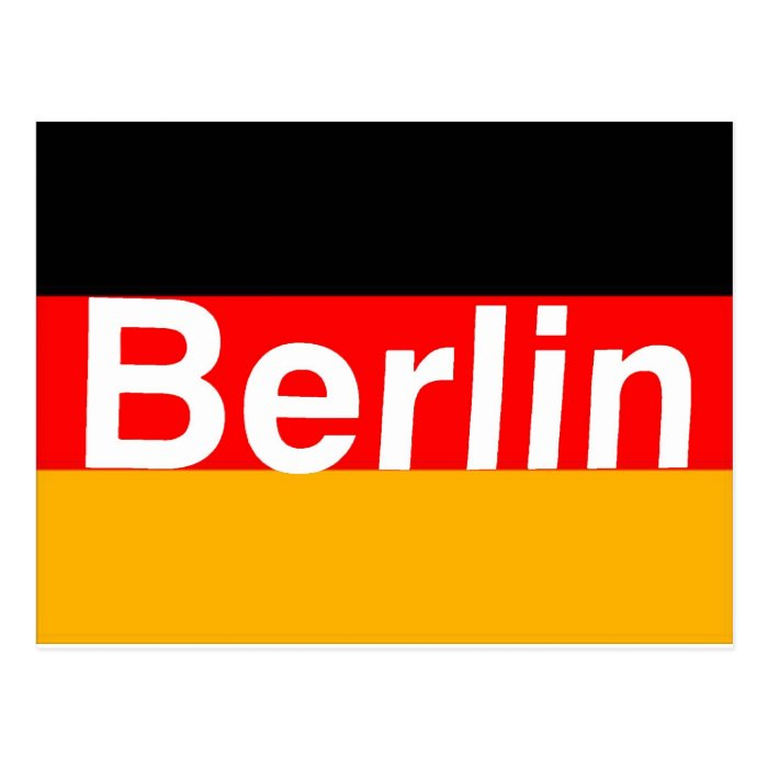 Berlin Logo in White on German Flag Postcard