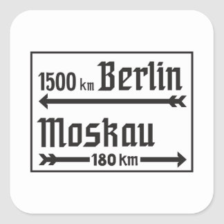 Berlin-Moscow, II World War, Russia Square Sticker