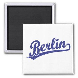 Berlin script logo in blue square magnet