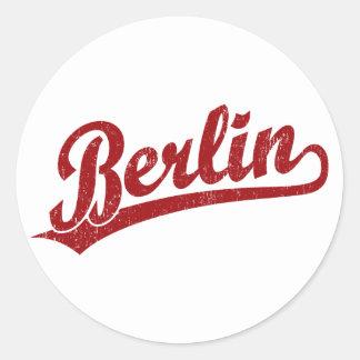 Berlin script logo in red classic round sticker