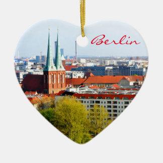 Berlin skyline (Germany) Ceramic Heart Decoration
