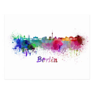 Berlin skyline in watercolor postcard