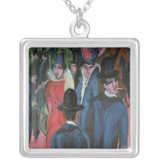Berlin Street Scene, 1913 Silver Plated Necklace