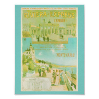 Berlin to Monte Carlo Riviera Express Poster