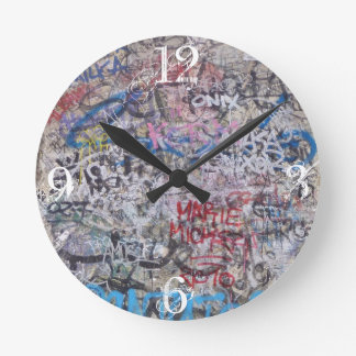 Berlin Wall- numbered Round Clock