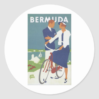 Bermuda Ad featuring a young sailing type couple Classic Round Sticker
