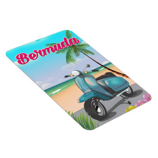 Bermuda Beach Scooter travel poster Magnet