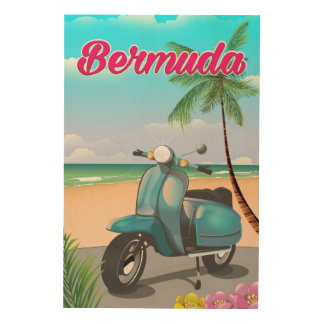 Bermuda Beach Scooter travel poster Wood Canvas