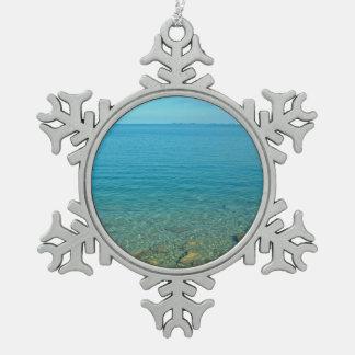 Bermuda Blue Green Waters Snowflake Pewter Christmas Ornament