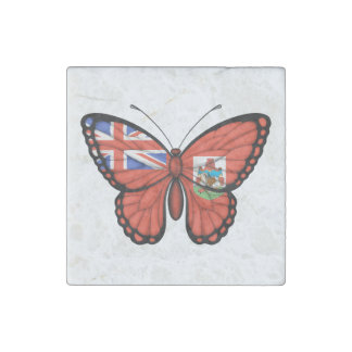 Bermuda Butterfly Flag Stone Magnet