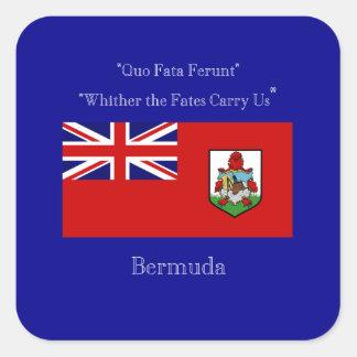 Bermuda Flag and Motto Square Sticker