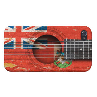 Bermuda Flag on Old Acoustic Guitar iPhone 4 Covers