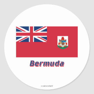 Bermuda Flag with Name Classic Round Sticker